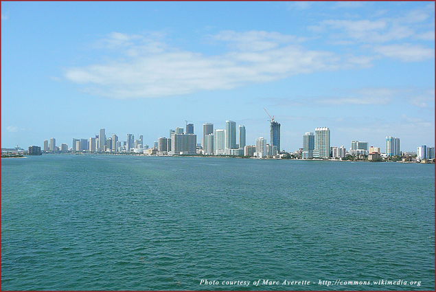 A view of the downtown Miami skyline across Biscayne Bay