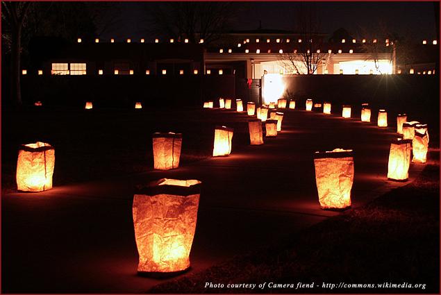 Festive luminarias light a walkway during the Christmas season in Albuquerque, New Mexico