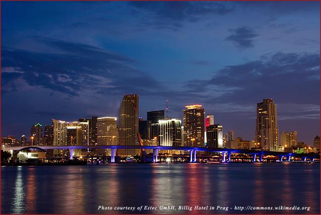 The Miami skyline at night