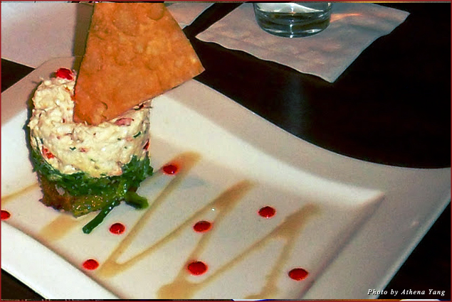 The creative and colorful crab and seaweed appetizer