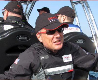 TAG Heuer president and CEO Jean-Christophe Babin sporting his company's eyewear on the Oracle AC45 racing boat