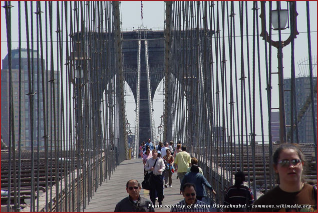 Pedestrians on the Brooklyn Bridge in New York City