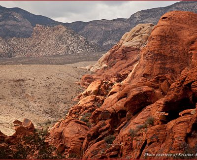 View from the top of the mountain looking through Red Rocks Canyon