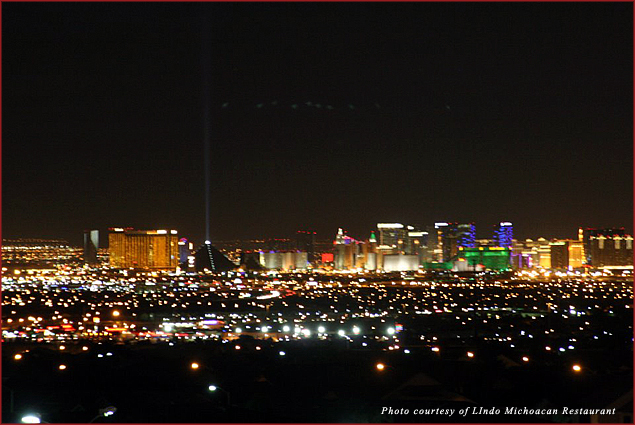 Las Vegas view from the Lindo Michoacan Restaurant dinner tables