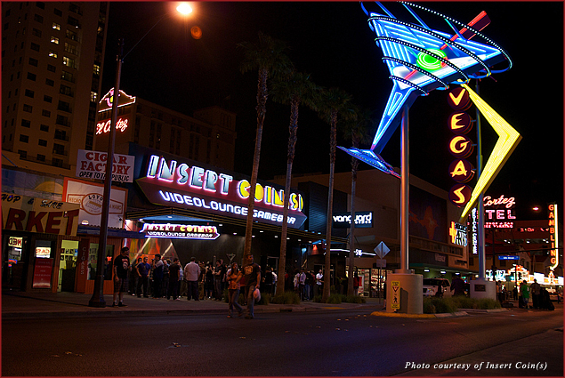 The exterior of Insert Coin(s), the first-ever video game bar in Las Vegas, NV
