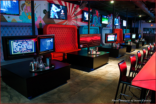 The interior of Insert Coin(s) videogame bar in Las Vegas, NV—lounge around drinking a martini while playing Asteroids or the Wii