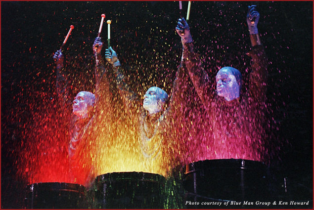 The Blue Man Group performing live in Vegas