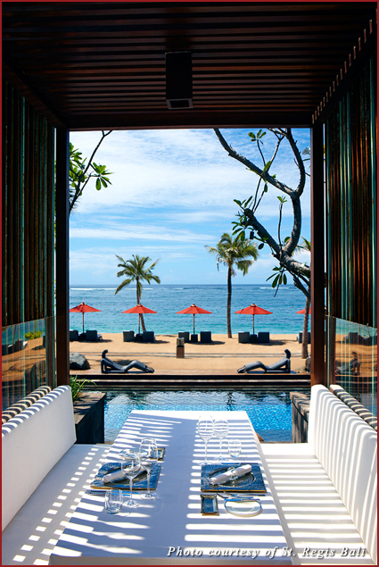 Outdoor seating at Kayuputi, the restaurant at the St. Regis Bali