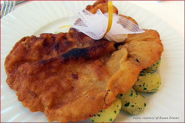 Schnitzel at Meierei restaurant