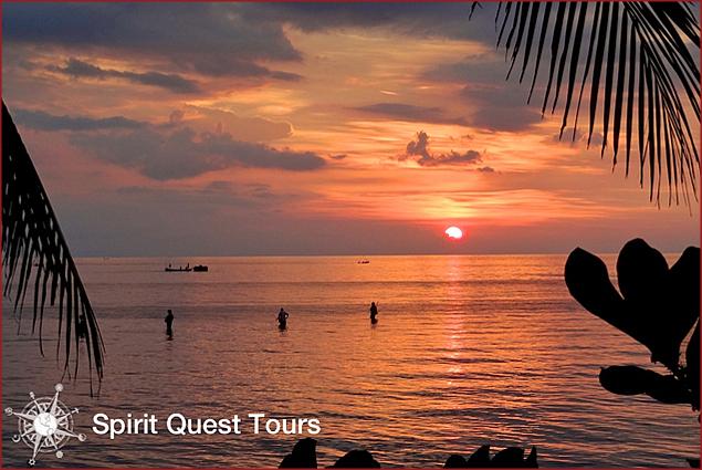 Sunset off the Puri Bagus beach
