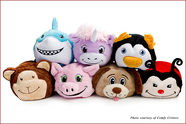 Comfy Critters are stuffed animals that convert into hooded blankets and keep children warm and comfortable while traveling