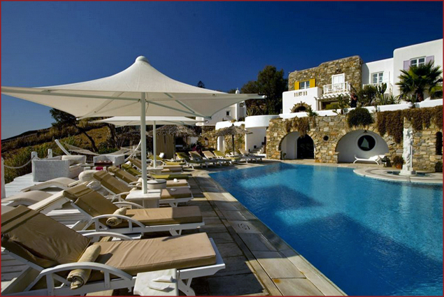Lounge chairs at Kivotos pool