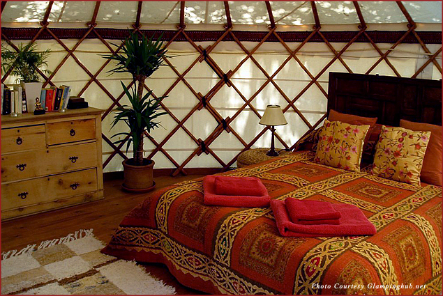 Comfortable rooms at the Hoopoe Yurt Hotel in the Andalucia Region of Southern Spain