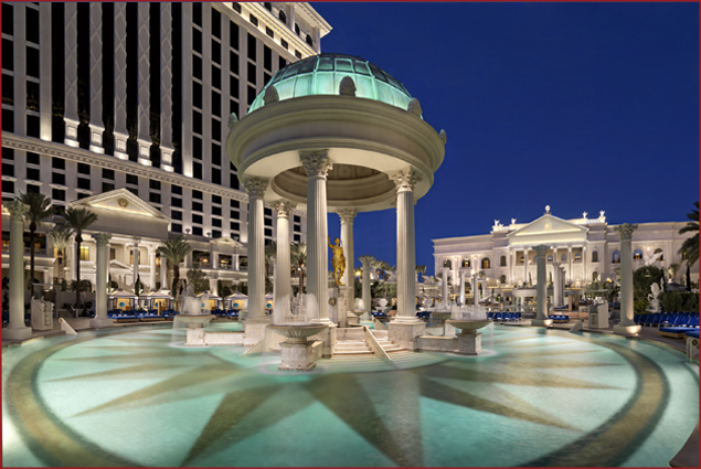 Garden of the Gods temple pool at night, Caesars Palace