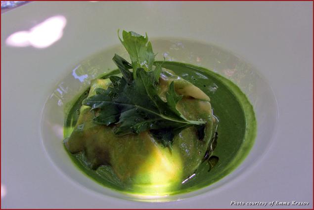 Haddock ravioli in watercress at Le Castellas