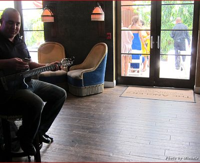 Live music greets visitors in the lobby of the Angler's Hotel