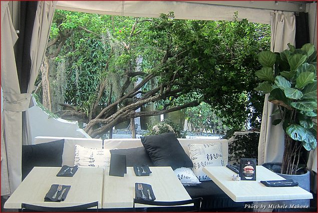 The front patio at the Angler's Hotel in Miami