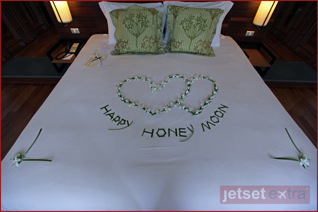 Message left on our bed from the staff at Sarojin