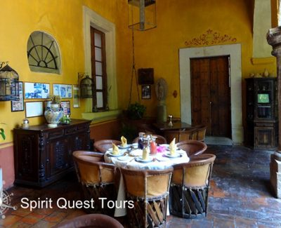 Inside the colorful dining room at Hacienda El Carmen