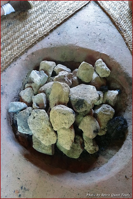 The heated stones inside the Temezcal