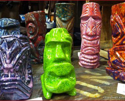 Highly collectible tiki mugs by Bosko at Tiki Oasis