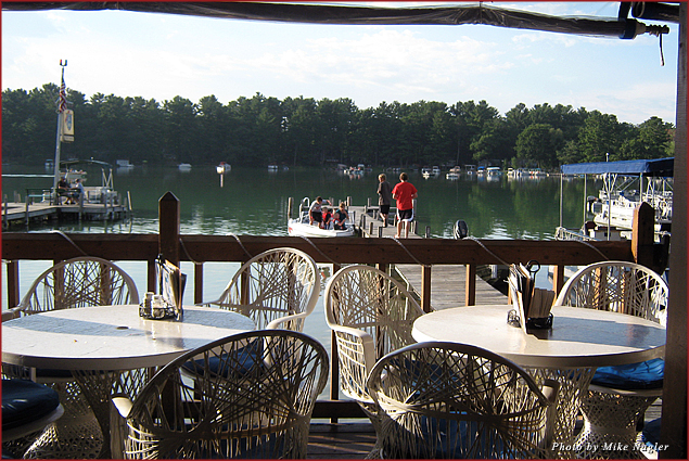 The picturesque Harbor Bar at Clearwater Harbor in Waupaca, Wisconsin offers lovely lake views