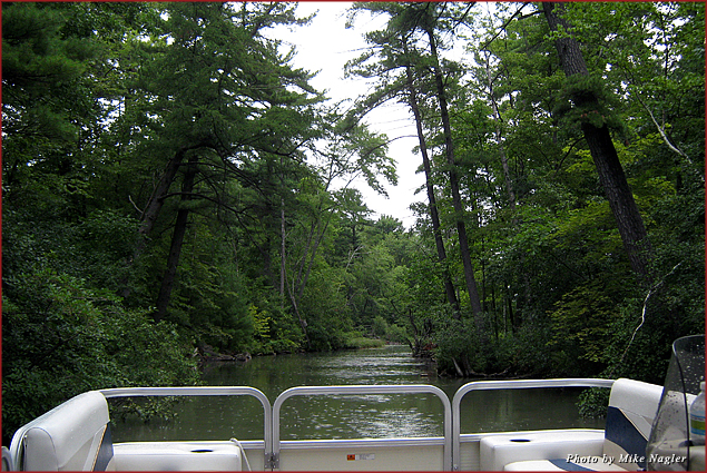 View from the pontoon boat while cruising Wisconsin's Chain of Lakes