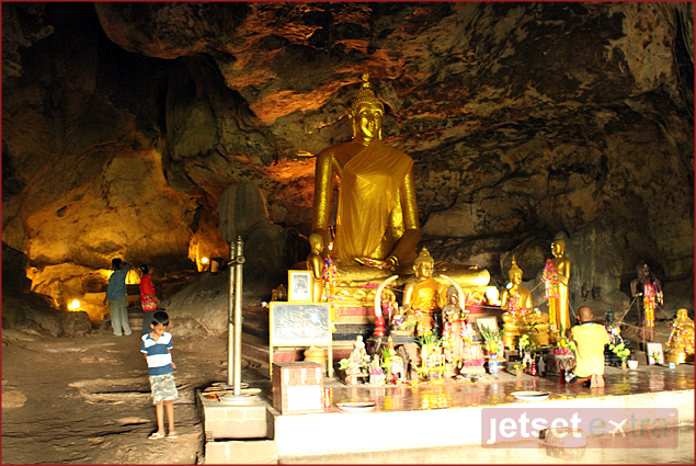 Buddha statue inside the cave where the injured POWs were kept and cared for by POW doctors