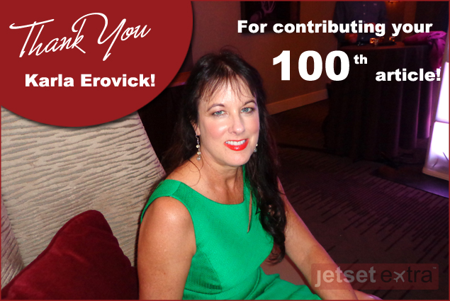Jetset Extra congratulates Karla Erovick on 100 contributions