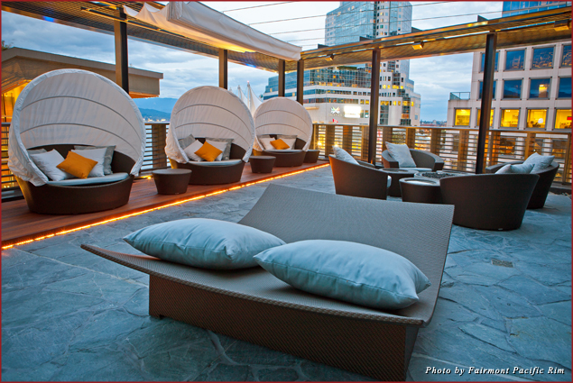 The outdoor terrace at the Willow Stream Spa at the Fairmont Pacific Rim hotel in Vancouver