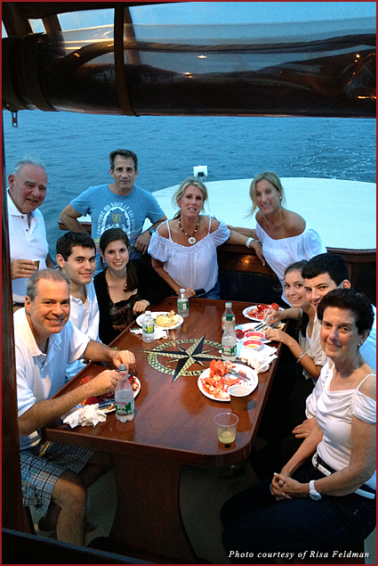 The whole gang at Marty and Flora Feldman's 50th wedding anniversary sunset yacht cruise and clam bake dinner