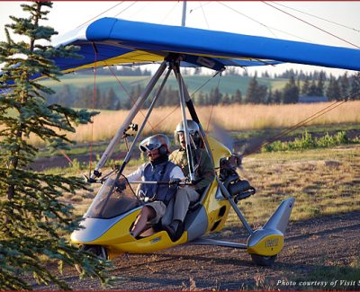 Flyers aboard a Backcountry Aerosports craft in Cheney, WA