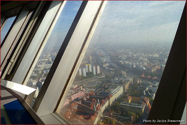 The Berlin TV Tower is the tallest landmark in Berlin and offers a rotating view of the city