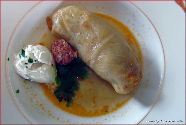 Sarma, stuffed cabbage with horseradish and broth