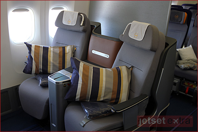 In the new 747-8 Intercontinental business class, passengers can sit or lie facing the direction of travel