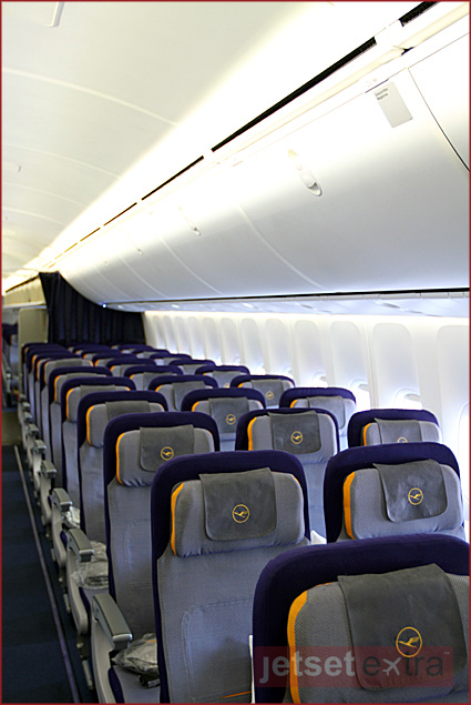 The Lufthansa Boeing 747-8 provides economy class passengers with ergonomically designed seats