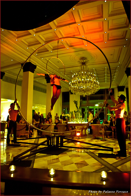 An aerial artist gives a live performance at Palazzo Versace in Queensland, Australia