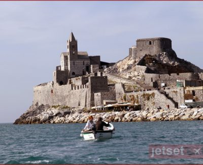 Gothic church on the cliff's edge in Portovenere, Italy