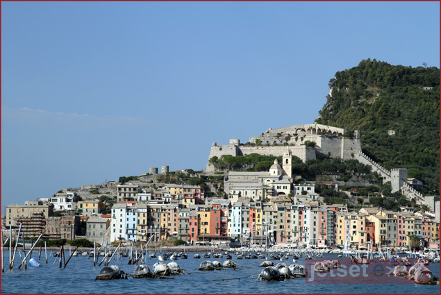 Mussel-farm wading in the waters of Portovenere, Italy