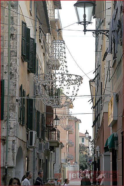 Chandeliers strung from the rooftops in Chiavari