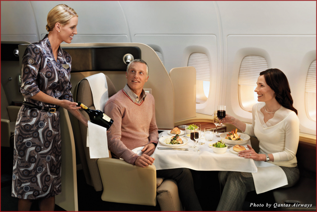 Meal service aboard the Qantas first class cabin