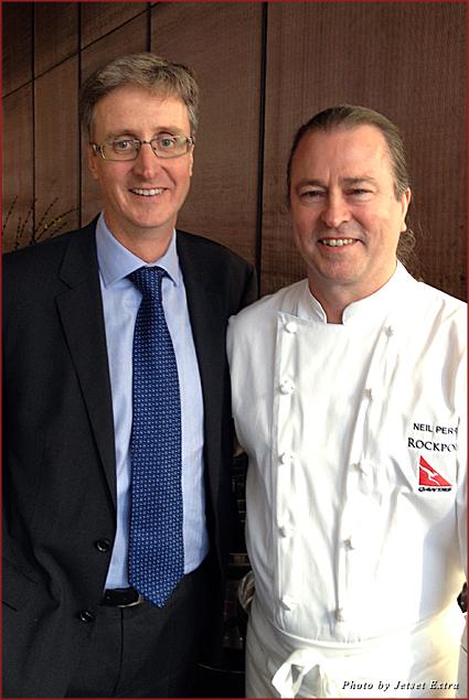 Chef Neil Perry with Qantas International CEO Simon Hickey