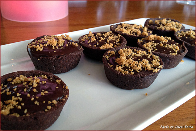 Bite-sized chocolate tarts for dessert