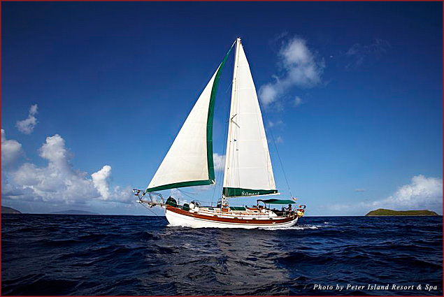 Spend two nights on Peter Island's Simaril sailboat