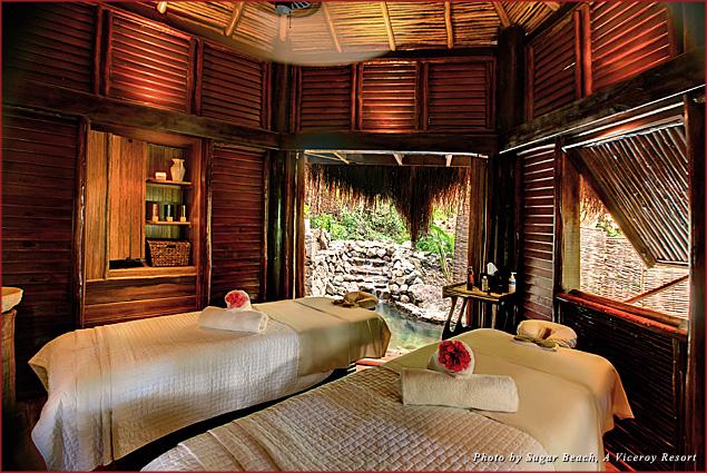 A couples treatment cabana at Sugar Beach, A Viceroy Resort
