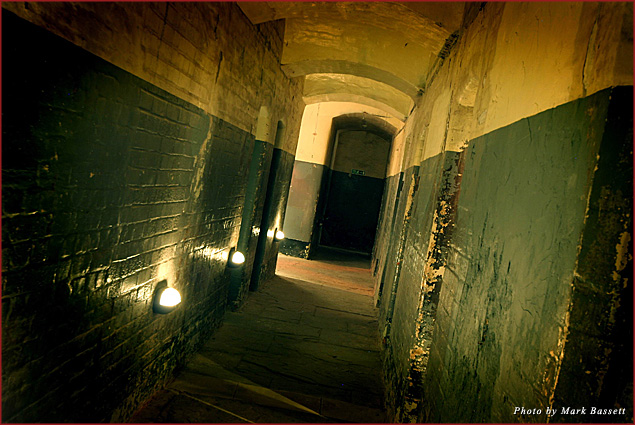 The Oxford Castle cell corridor at night