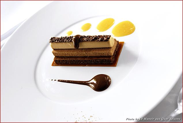 Araguani chocolate sabayon, crunchy praline from the Raymond Blanc Cookery School