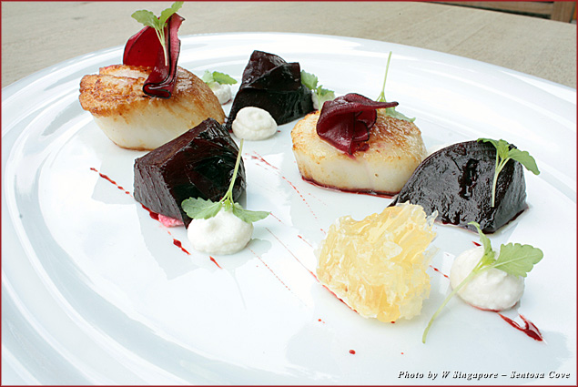 Seared US scallops, beets, honey, and almonds—part of the six-course aphrodisiac menu at SKIRT