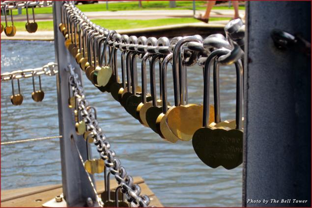 Locks adorn a Perth bridge to symbolize a couple's love