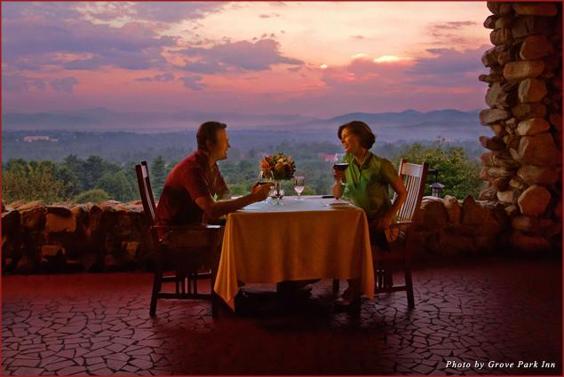 A couple celebrates on Sunset Terrace